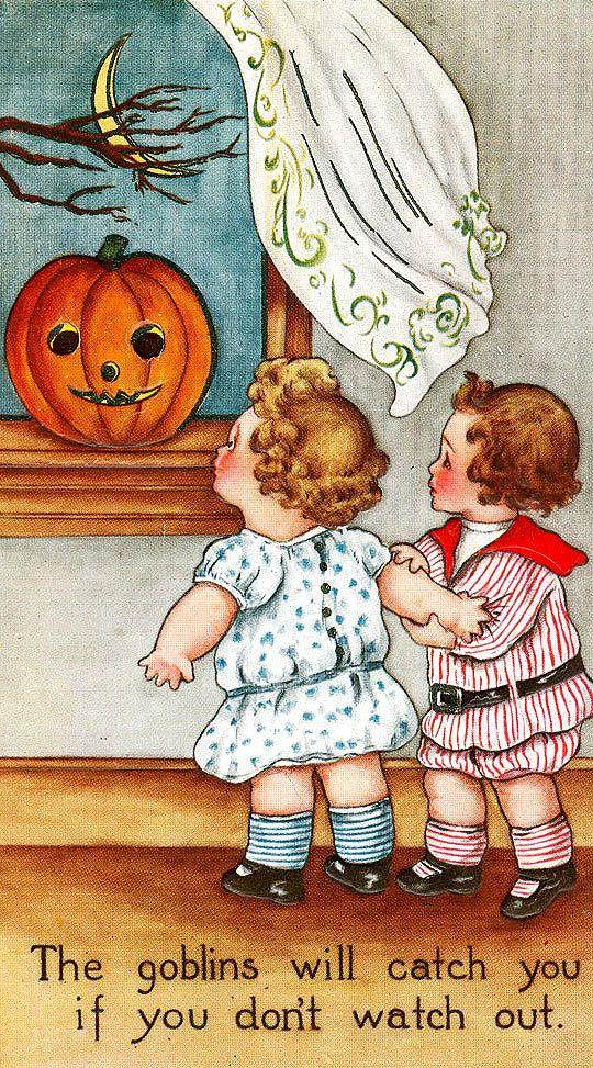 Vintage Halloween postcard - children with a Jack O' Lantern.