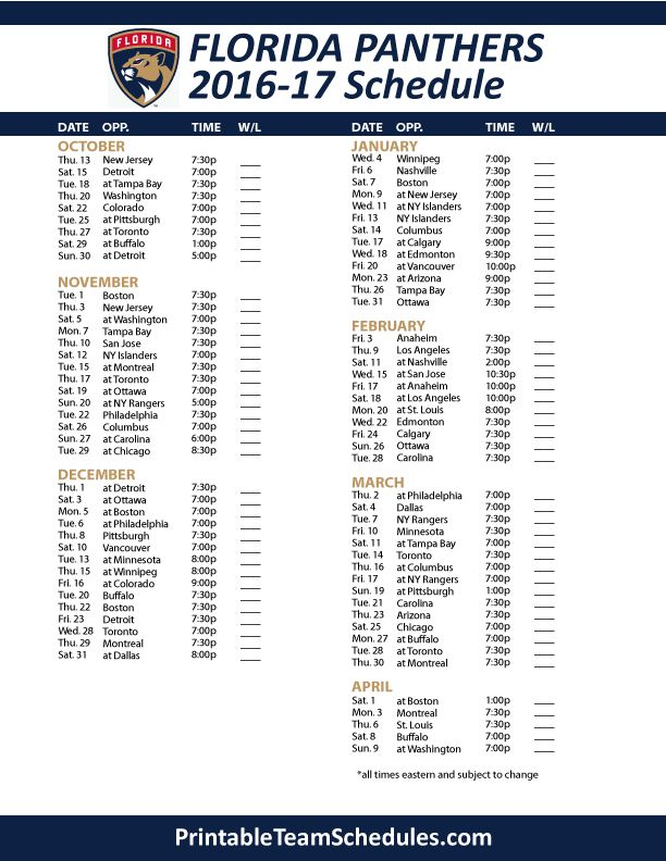 Florida Panthers Hockey Schedule 2016- 2017 Print Here - http://printableteamschedules.com/NHL/floridapanthersschedule.php