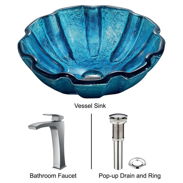 "Vigo VGT177 16-1/2"" Bathroom Vessel Sink and Faucet Combo Mediterranean Seashel Chrome Fixture Lavatory Sink Combination"