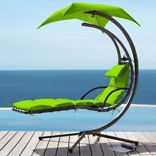 Helicopter Swing Chair Hanging Outdoor Garden Lounger Free Standing Lime Green