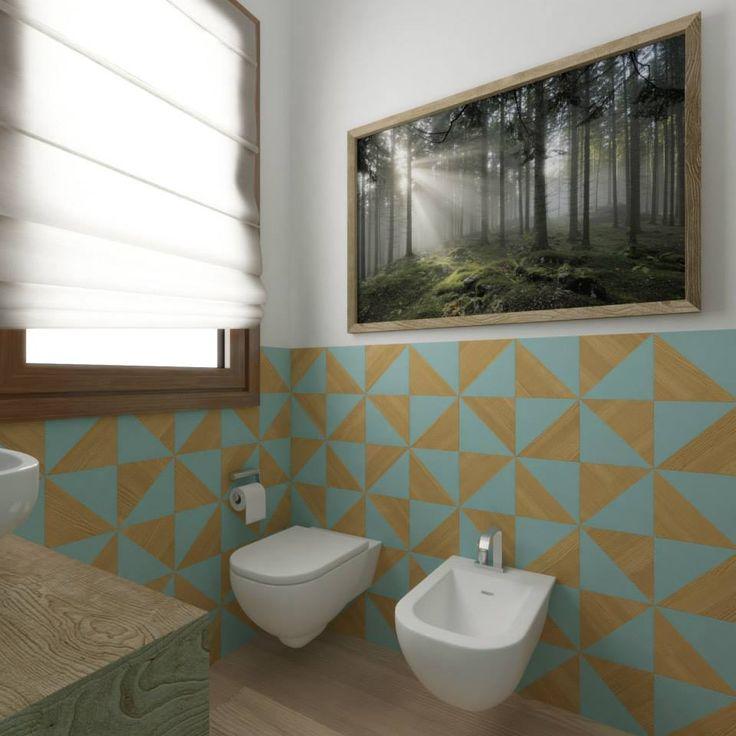 Arredamento bagno: la progettazione di Studio Stocco con la collezione #Trellis di Kronos Ceramiche #ambientazioni #bagno #esagoni #studiostocco #trellis