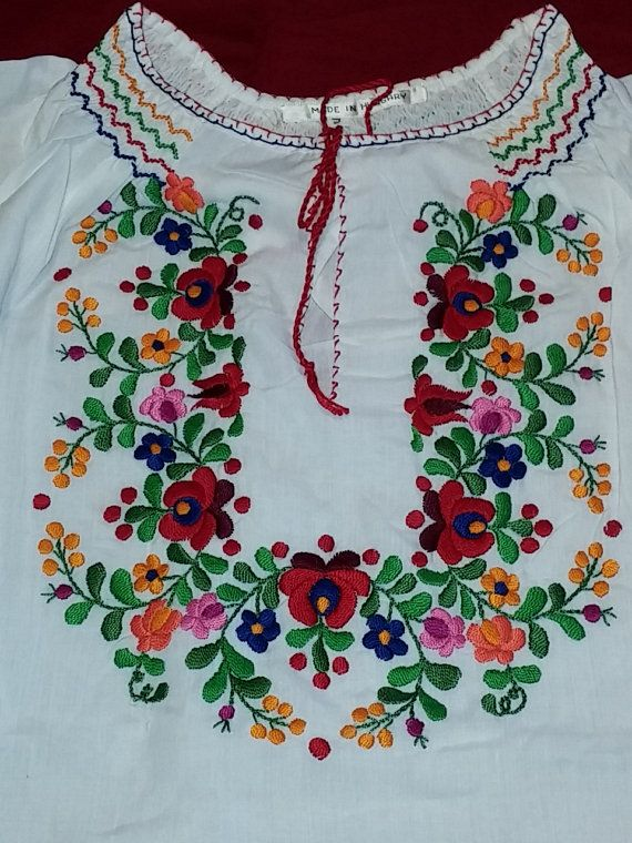 Vintage Hungarian Hand Embroidered Matyo' Motif Blouse