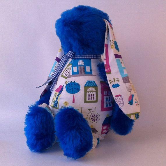 Blue soft cuddly bunny toy