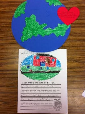 I can make the Earth Glitter...writing prompt: Poems On Job, Pop Videos, Schools Earth, Earth Day Activities, 1St Earth, Buddy Ideas, Art Projects, 1St Grade, Earth Glitter