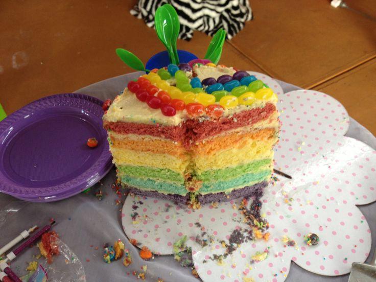 Inside Demi's rainbow cake