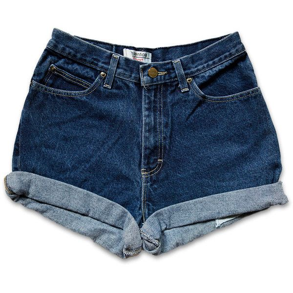 Vintage 90s Dark Blue Wash High Waisted Rise Cut Offs Cuffed Rolled... (1.815 RUB) ❤ liked on Polyvore