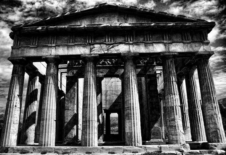 "Greece has an abundance of classical temples still standing. They are immense and powerful. This shot was taken in color, and then turned into a black and white using Topaz Labs. This one was specifically done in Topaz Adjust using the ""Sketch Dark Charcoal"" preset as a launching point. Enjoy."