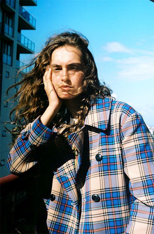 Chiara shot in Bondi for Cool Pretty Cool wearing a Rag & Bone coat and Gucci t-shirt