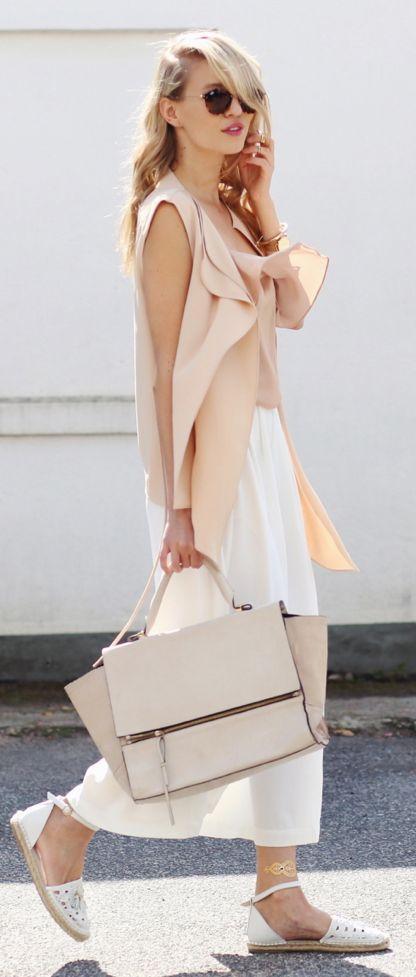Ooh Couture White Flats Nude Vest White Culottes - cores leves e look fluído para o verão