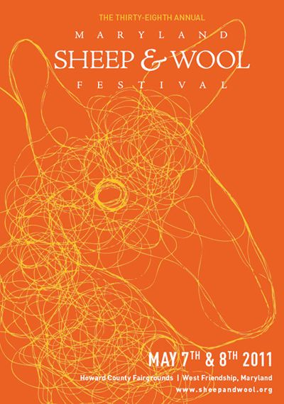 Maryland Sheep & Wool Festival... very cool graphic poster using a carefully drawn interplay of line - to simulate a tangled thread - representing a sheep's head.
