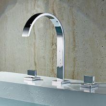 Cromo polido Torneira Banheiro duas alças Deck montado Banheiro generalizada Torneira do Banheiro bacia toque Mixer sink LT-802(China (Mainland))