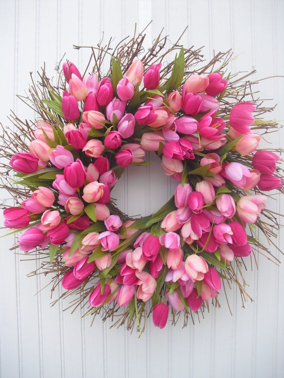 Tulip Spring Wreath - Deep Pink Shades, $45.00