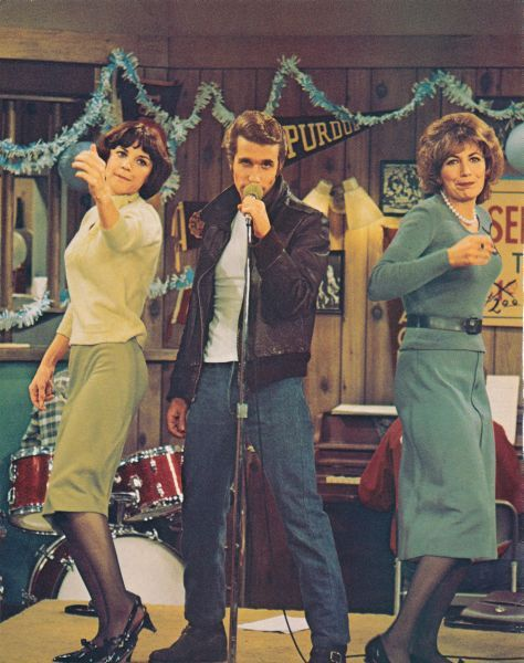 Fonzie with Laverne and Shirley