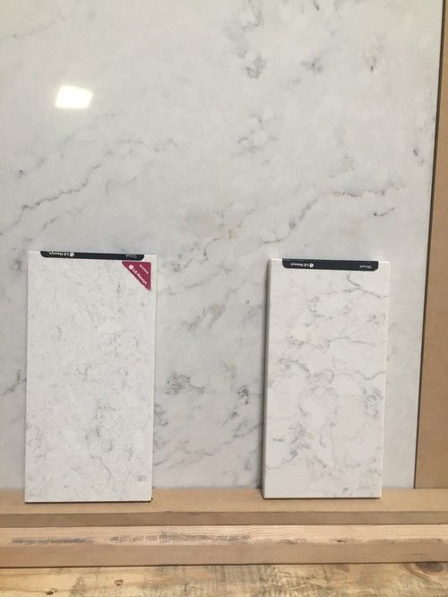 Slab Is Zodiaq London Sky Left Sample Is Lg Cirrus Right