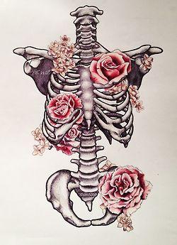 drawing art beautiful vintage Grunge draw dark flowers skull skeleton rose roses