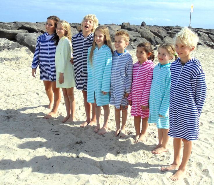 Hooded Towelling Swim/Beach Robes  Sizes 6months up to 16Yrs  www.ejkids.com.au
