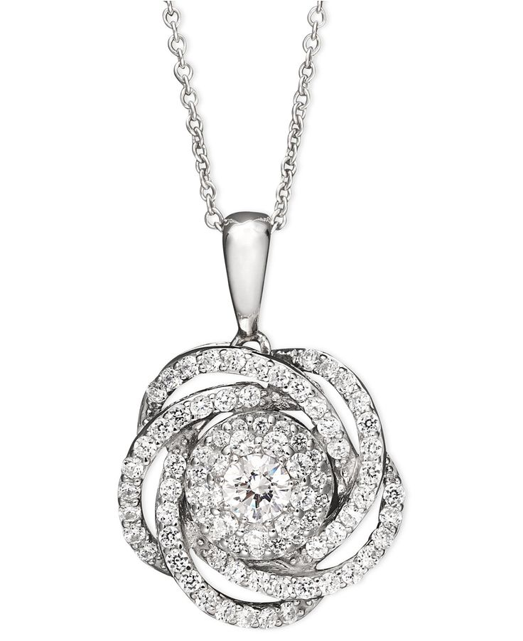 Wrapped in Love™ Diamond Knot Pendant Necklace in 14k White Gold (1 ct. t.w.) - Necklaces - Jewelry & Watches - Macy's