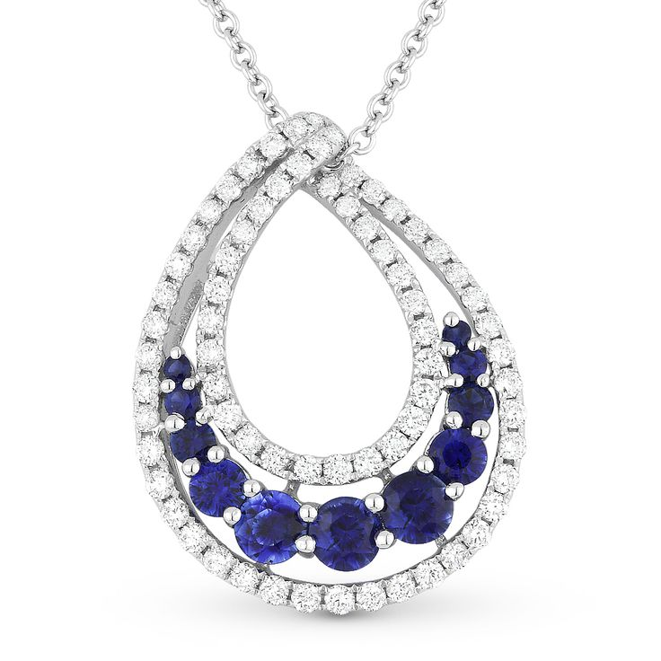 1.50ct Sapphire & Diamond Pave Tear-Drop Statement Pendant in 18k White Gold Pendant w/ 14k Chain Necklace - AlfredAndVincent.com