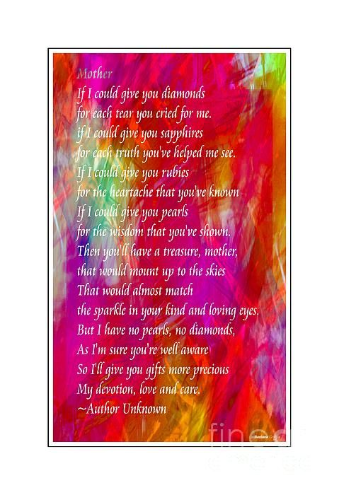 Mother if I could give you diamonds by Barbara Griffin