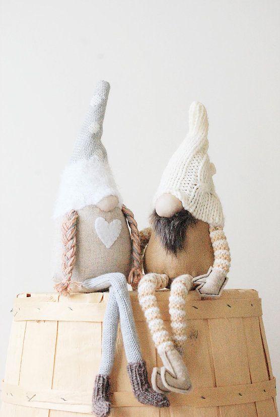 Handmade Scandinavian sitting gnomes Nordic Gnome
