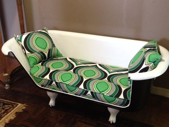 Antique Clawfoot Cast Iron Tub Sofa Couch Loveseat Painted Black And White On