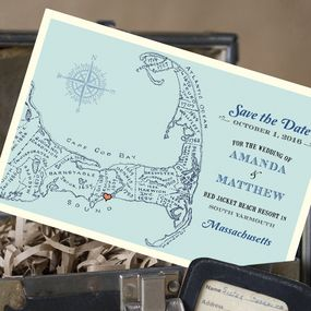Vintage Map Postcard Save the Date (Cape Cod)
