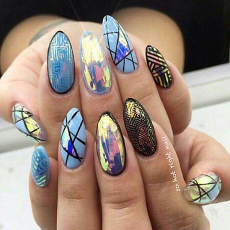 Cool manicure. Mylar nail art, geometric shapes