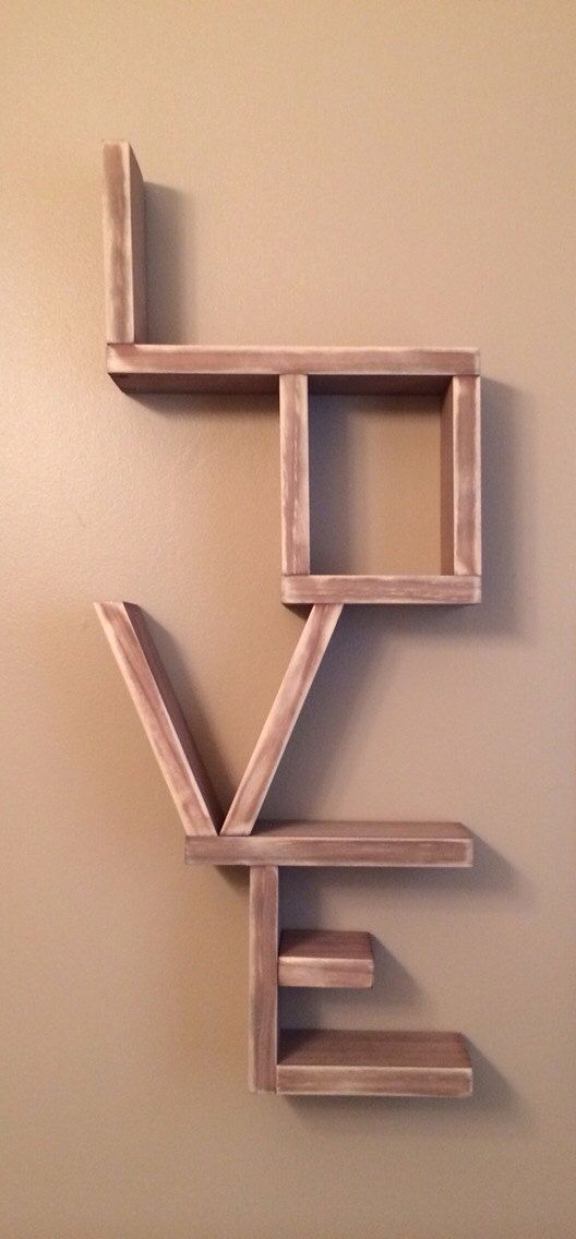 Distressed wooden love shelf on Etsy, $60.00