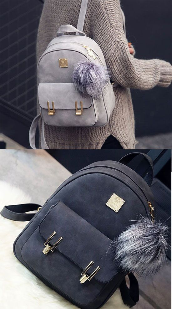 Leisure Frosted PU Zippered Bag With Metal Lock Match School Backpack   backpack  Bag  school  college  student  rucksack  canvas 985c872ad144f