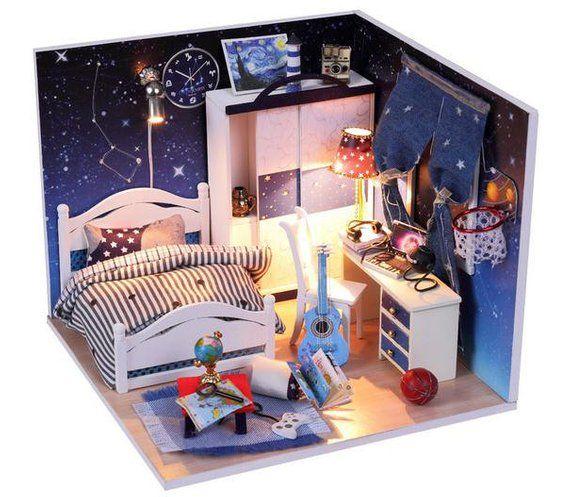 Bright Stars Dollhouse DIY Kit Cute Room House Model With Led Light DK46