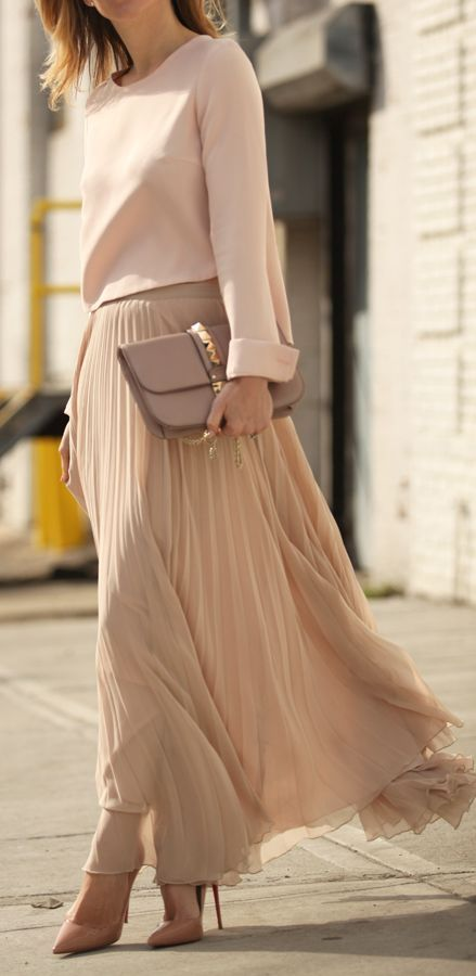 Neutral look   Blush sweater, pleated skirt, clutch and heels
