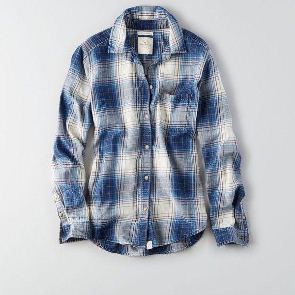 AEO Boyfriend Button Down Shirt ($17) ❤ liked on Polyvore featuring tops, blue flannel shirt, boyfriend shirt, plaid shirt, print shirts and plaid button down shirt