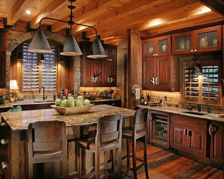 Perfect Rustic Kitchen, Log Home.pretty Minus The Antler Handles
