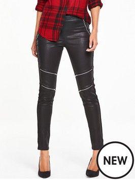 Leather look zip knee trousers