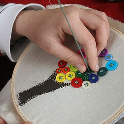Button Trees - easy sewing project for the kids to do themselves! The bigger the buttons, the bigger the holes!