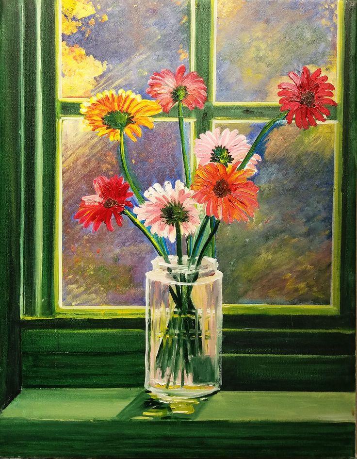Regina Oyarzún Bodegón Flores ventana verde óleo sobre tela de 35 x 45 cms.- pinceladas más espontáneas y buen trabajo de la luz. (pintura original inspirada en fotografía)