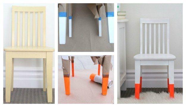 Silla remojada con pintura:   35 impresionantes maneras de darle nueva vida a los muebles viejos