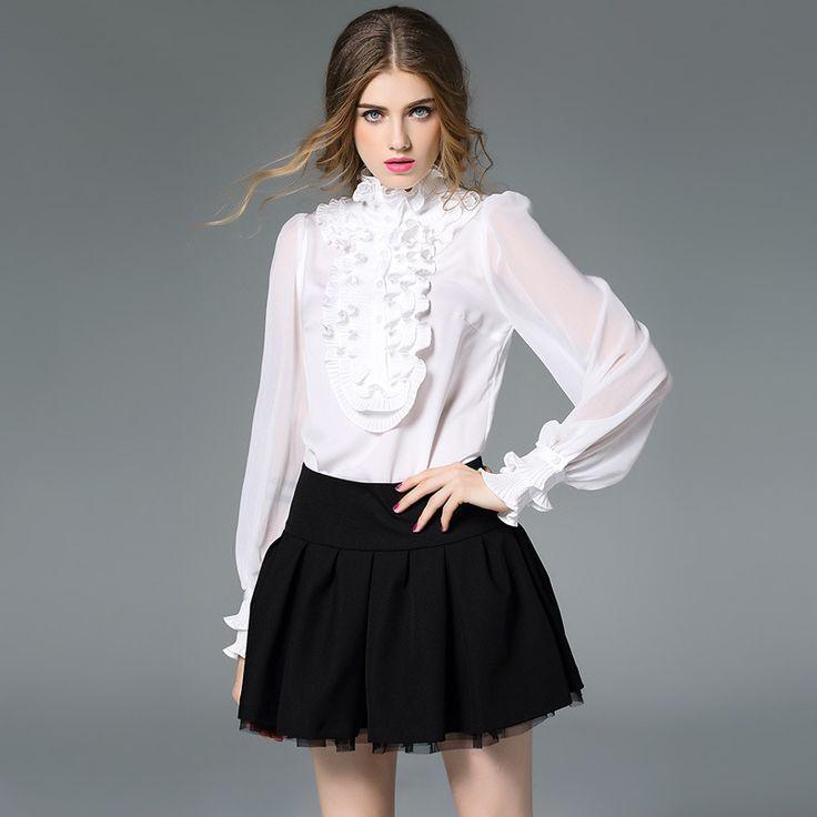 Top Quality New Blouses Autumn 2017 Women Ruffles Pleated Design Long Sleeve Shirt Ladies Formal Office Blouses Shirt Plus XL