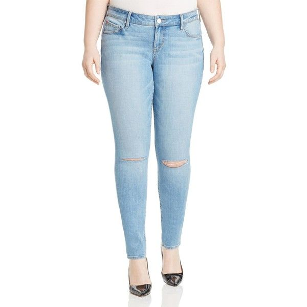 Slink Jeans Anita Split Knee Skinny Jeans in Light Blue ($105) ❤ liked on Polyvore featuring jeans, light wash, ripped jeans, light wash ripped jeans, light blue ripped skinny jeans, light wash skinny jeans and light blue ripped jeans
