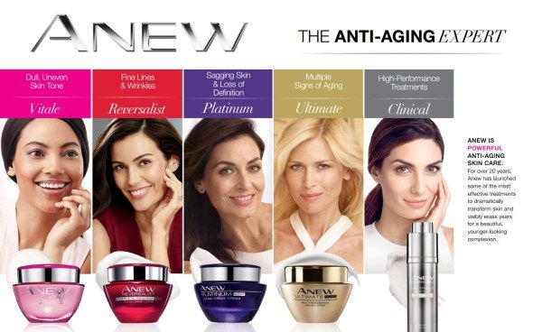 From Clinical to Ultimate, here's a helpful chart comparing the differences in our Anew skincare lines to help you with your anti-aging skincare needs! ~ Avon Lady Beth Bailey ~ Avon eStore LipstickShoesAndMore.com