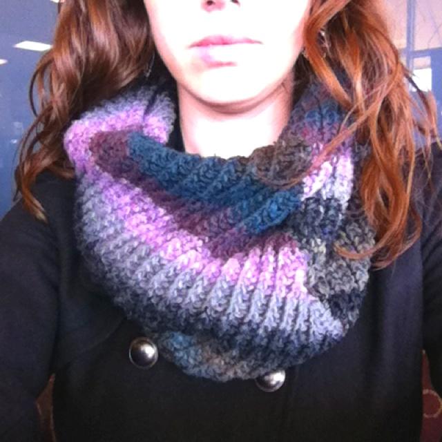 Infinity Scarf Knitting Pattern Lion Brand : Knit infinity scarf I made with a Lion Brand pattern Crochet Pinterest ...