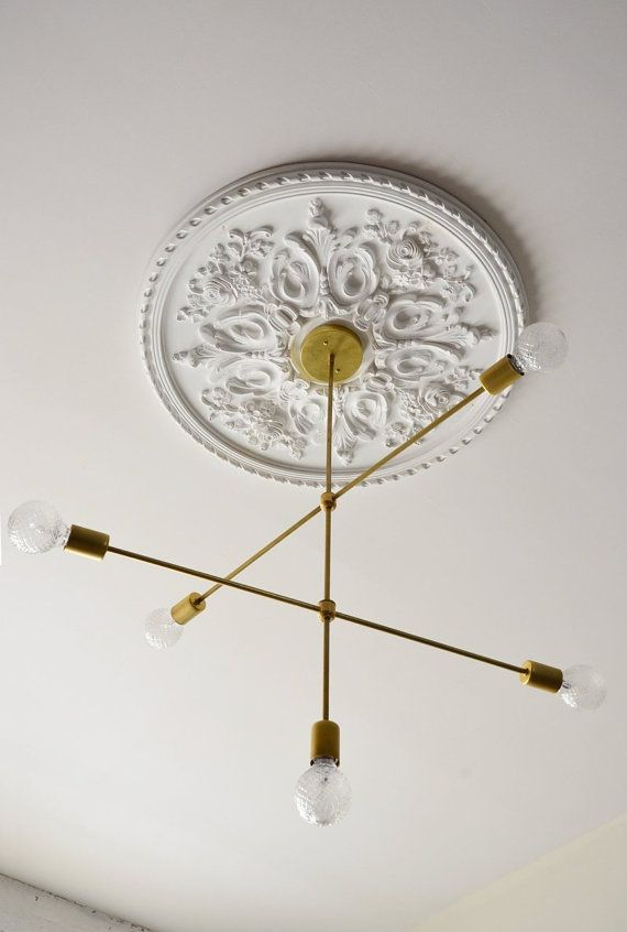 Modern brass sputnik inspired chandelier • ul listed cadence bedroom lightinghouse