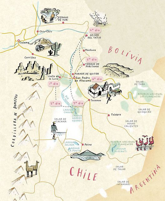 Chile, north east corner map, by Nik Neves #map #chile
