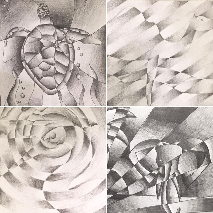 Some of Art 1's finished shattered value Cubist drawings. Pretty neat and they really seemed to enjoy creating these! #art #artist #drawing #value #turtle #graphite #highschoolart #studentwork #mainesouth #contrast #cubism
