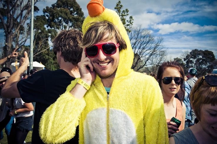 This Melbourne Parklife 2011 festival goer was clearly an expert at the chicken dance...