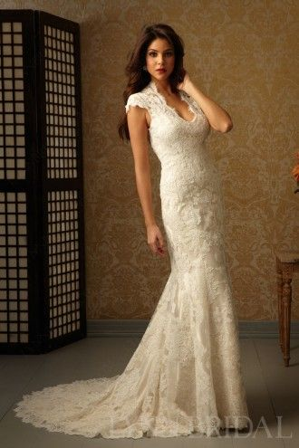 Vintage Inspired Sheath Queen Ann Cap Sleeves Open Back Lace Wedding Dress