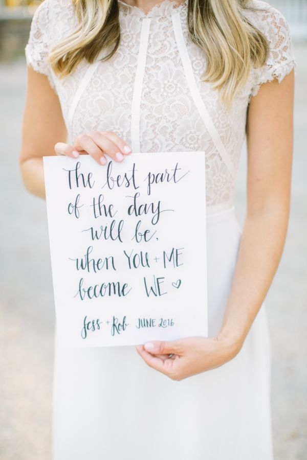How cute is this sign by our blogger bride, Dressed by Jess? http://www.stylemepretty.com/vault/gallery/38058 | Photography: Love & Light - http://www.loveandlightphotographs.com/