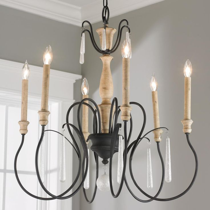 Parchment Glass Accent Chandelier   6 Light. Rustic ChandelierDining Room  ...