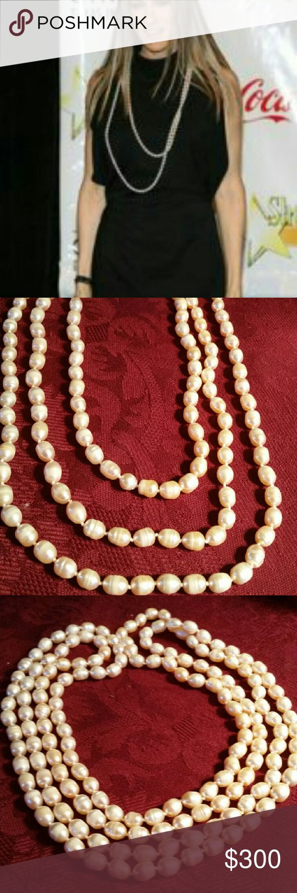 "Real authentic  costume made pink pearl necklace This is such a beautiful Long necklace which can be used long or double or triple layered also as a bracelet. In new condition flawless this are 100% real authentic pearls is 72""inches long. Jewelry Necklaces"