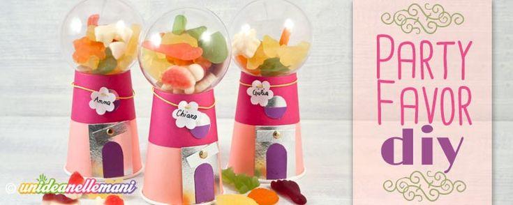 Idee regali fine festa bambini. Tutorial per creare simpatici party favor o regali fai da te di fine festa compleanno a forma di distributore di caramelle